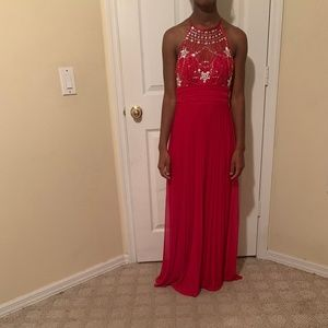 A very beautiful red and sliver prom dress